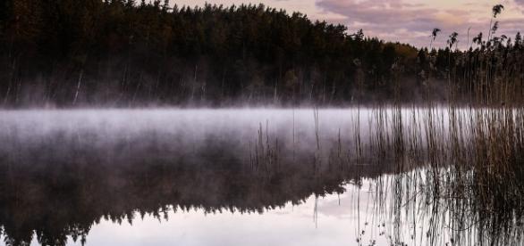 Paisaje de un lago de Suecia en invierno.