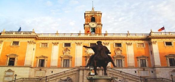 La facciata del Campidoglio a Roma.