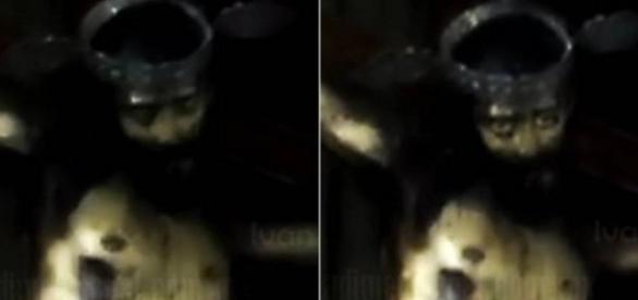 Ao ser filmada imagem de Jesus Cristo abre os olhos. Imagem internet / Fonte Youtube
