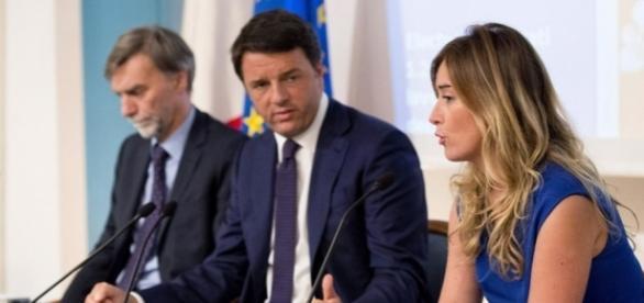 Graziano Delrio, Matteo Renzi e Maria Elena Boschi