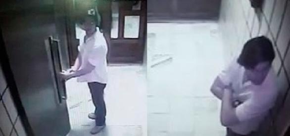 Imagem mostra vítima e agressor, momentos antes de entrarem no elevador. Fotos de arquivo pessoal.
