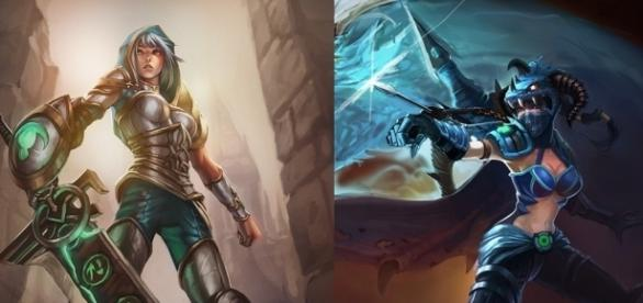 Vayne y Riven. Campeonas de League of Legends