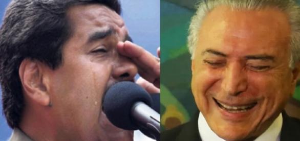 Maduro e Michel Temer- Foto/Montagem