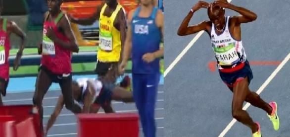 Mo Farah leva tombo feio na Olimpíada