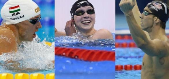 Gigantes del agua, los tres nadadores suman doce medallas de oro