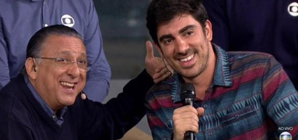 Galvão Bueno ao lado de Marcelo Adnet