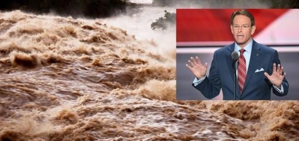 Político americano acaba vítima de enchente