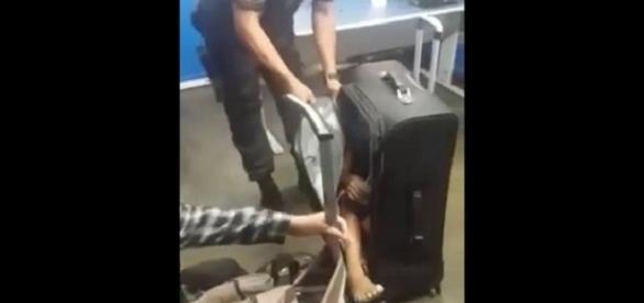 A criança de 11 anos estava dentro de uma mala.