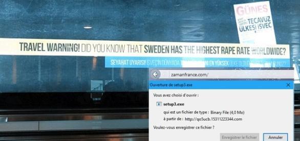 Le panneau de l'aéroport d'Istanbul et le fichier du site Zaman France (montage)