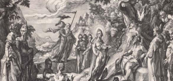 "Hendrick Goltzius engraving ""The Judgment of Midas,"" (detail), 1590 © Courtesy of The Museum of Fine Arts Boston Creative Commons"