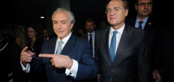 Renan Calheiros e o presidente interino da República Michel Temer