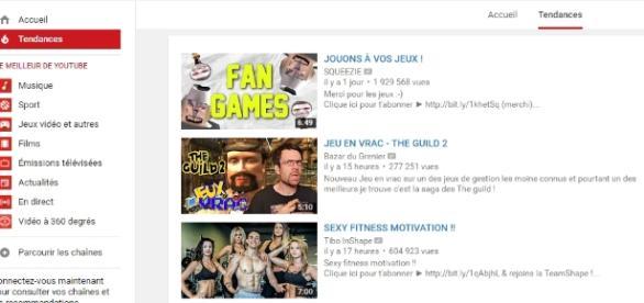 Home Page Youtube qui pourrait devenir un réseau social