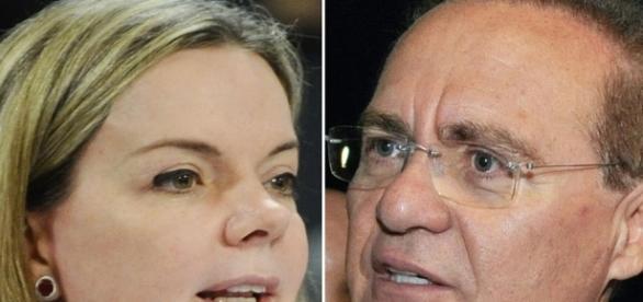 Presidente do Senado Renan e senadora Gleisi Hoffmann