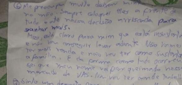 Em carta deixada por Nabor Oliveira, ele demonstra preocupação em relação à situação pela qual passava
