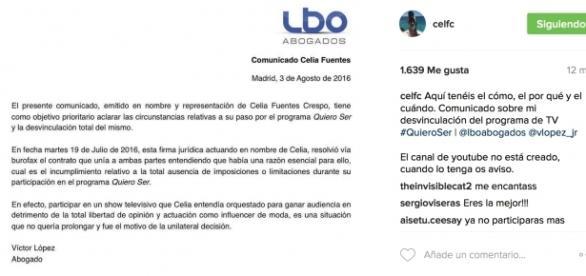 comunicado de Celia Fuentes sobre su abandono