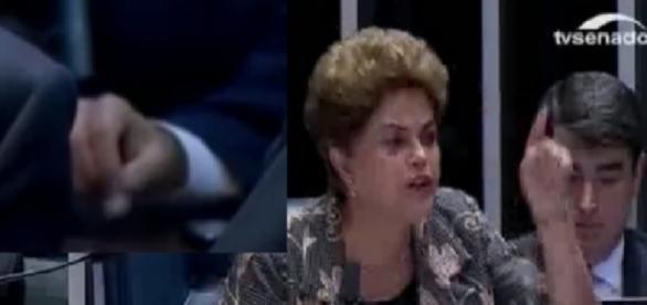 Senador balança pacotinho durante fala de Dilma