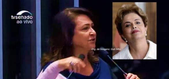 Kátia Abreu durante discurso no Senado