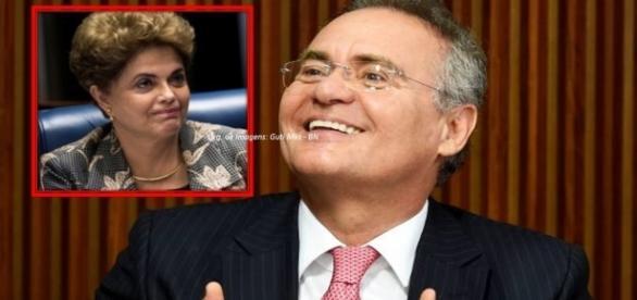Renan votou pelo impeachment (Fotos: Evaristo Sá/AFP/TV Senado)