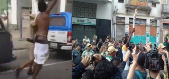 Condutor da tocha faz protesto político e é preso