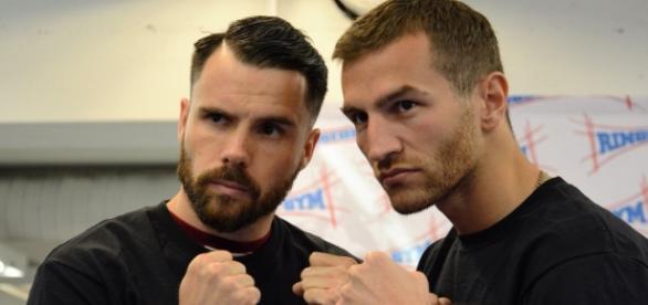 Cristian Morales y Edis Tatli durante la presentación de la pelea. | Foto: @RingsideG