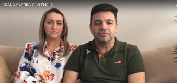 Feliciano e sua esposa em vídeo.