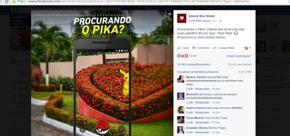 Motel vira hit no Facebook com postagem sobre Pokémon Go
