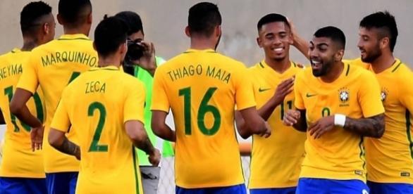 Seleção Olímpica em amistoso no último sábado (Foto: Evaristo Sá/AFP)