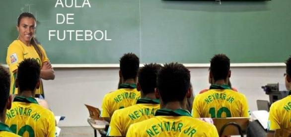 Marta marcou dois gols na vitória do Brasil