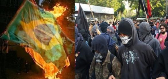 Petistas colocam fogo na bandeira do Brasil