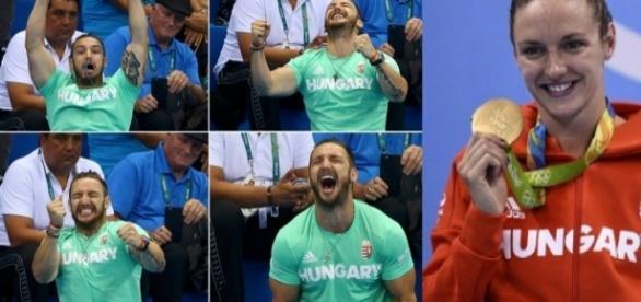 Marido animadão torce pela mulher na Olimpíada