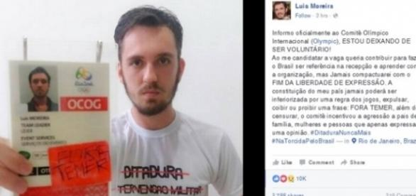 Voluntário se revolta e protesta nas Olimpíadas (Reprodução/Facebook)