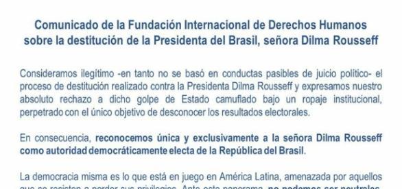 Comissão Internacional de Direitos Humanos (CIDH) emite nota considerando ilegítimo o julgamento de Dilma Rousseff.