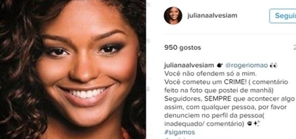 Juliana Alves, rebate fã que a chama de Rata da barriga preta, por causa de seus post.