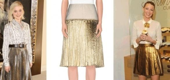 Falda plisada metalizada colo oro