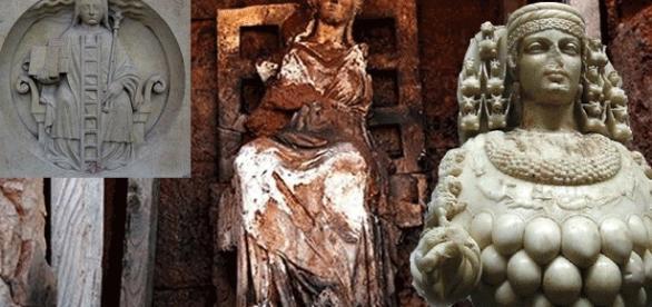 La statue (au centre) de Cybèle avec (à d.) une représentation d'Artémis et le bas-relief de N.-D. de Paris (à g.) – montage Jef Tombeur