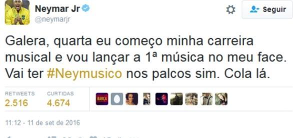 Neymar vai se dedicar à música