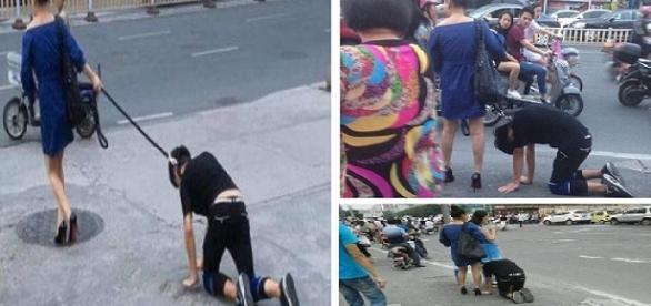 Foto montagem: mulher faz homem de cachorro.