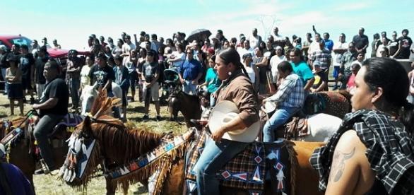 Manifestation d'Amérindiens dans le Dakota du Nord