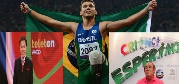 Foto montagem: Paralimpíada não tem espaço nas TVs abertas.