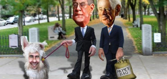 "Flickr photo by DonkeyHotey ""The Koch Brothers walking their dog, Scotty"""