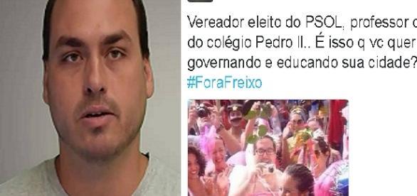 Carlos Bolsonaro utilizou foto do vereador eleito Tarcísio para tentar ridicularizá-lo na internet