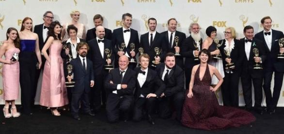 Les acteurs de la série Game of Thrones lors de la 67e cérémonie des Emmy Awards, (Jordan Strauss/Invision/AP)