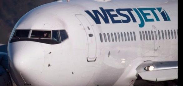 Imagem de avião onde passageiro no qual passageiro teria tentado pular.