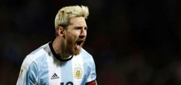 Messi y su grito de gol ante la selección de Uruguay