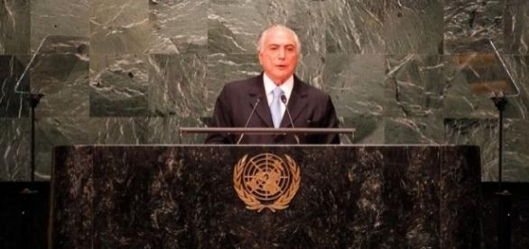 Presidente Michel Temer fez um amplo discurso abordando temas globais, mas não se furtou de falar do processo de destuição presidencial