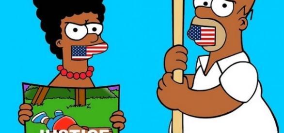 Los Simpson protestan contra el racismo y la brutalidad policial apareciendo con la piel negra.