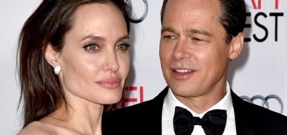 O casal recém separado Angelina Jolie e Brad Pitt