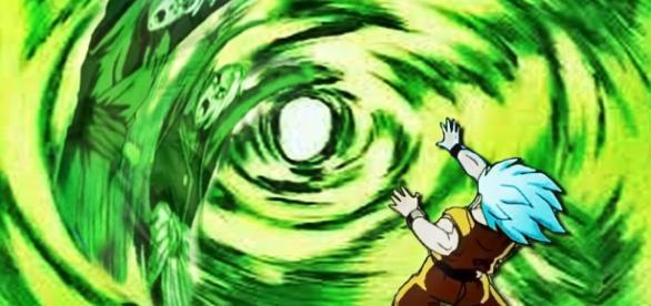 Goku haciendo el Mafuba contra Black y Zamasu
