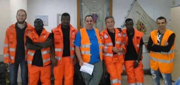 tre volontari del Ghana in servizio nel progetto Humanitas a Scandicci