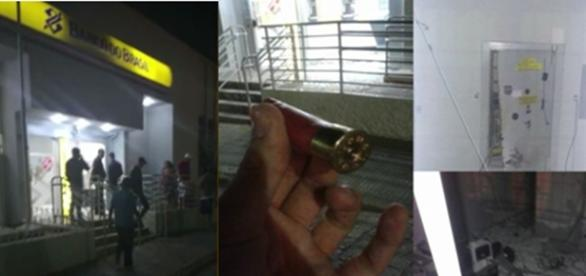 Nas imagens a agência bancária que foi atacada, os bandidos conseguiram levar o cofre.